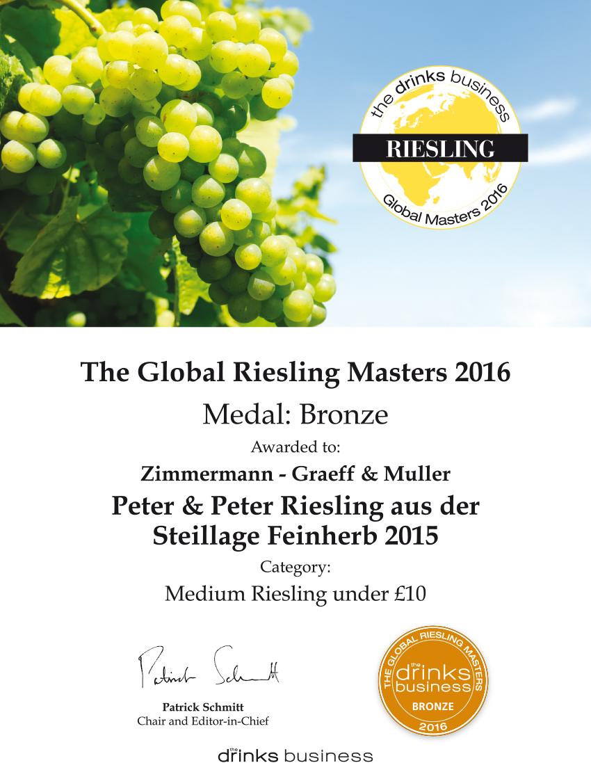 """ZGM freut sich über Auszeichnungen bei """"The Global Riesling Masters ..."""